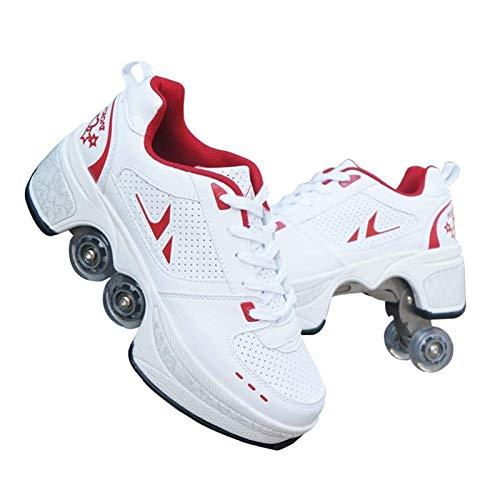 JTKDL Schuhe Mit Rollen Skateboardschuhe,Inline-Skate,2-in-1-Mehrzweckschuhe,Verstellbare Quad-Rollschuh-Stiefel-Männliche Und Weibliche,WhiteRed-39