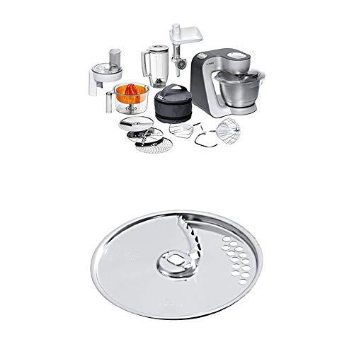 Bosch MUM56340 Küchenmaschine Styline / 900 Watt / Edelstahl-Rührschüssel / Durchlaufschnitzler + Pommes frites-Scheibe aus Edelstahl / für Durchlaufschnitzler zu Bosch Küchenmaschinen