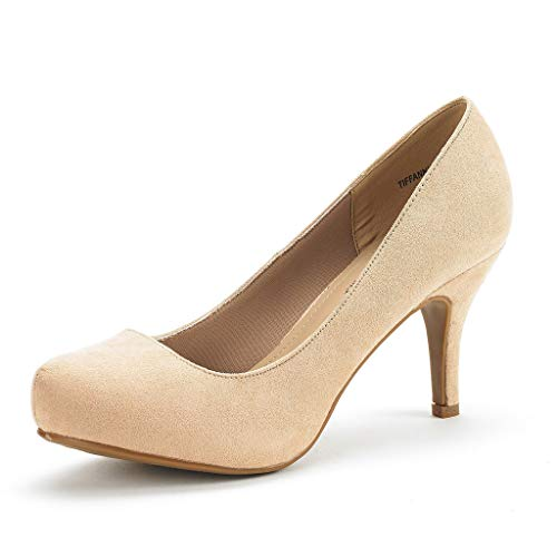 DREAM PAIRS Tiffany Women's New Classic Elegant Versatile Low Stiletto Heel Dress Platform Pumps Shoes Nude Suede Size 10