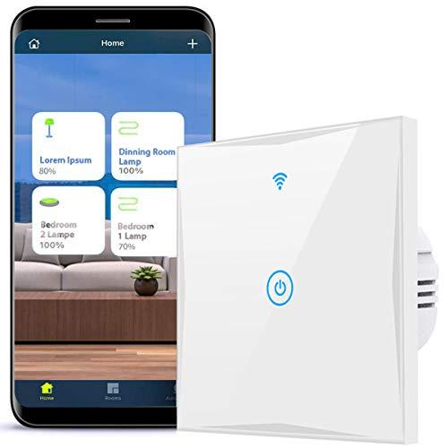 Interruptor de luz inteligente, 1 vía, compatible con Alexa, Google Home e IFTTT, 2,4 GHz, pantalla táctil de cristal con aplicación Smart Life, no requiere hub (blanco, N Wire Needed) (1 vía)