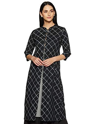 Rangmanch by Pantaloons Women's cotton a-line Kurta (110050211_ Black_ Small)