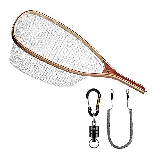 SF Fly Fishing Landing Rubber Net Trout Catch and Release Small Holes Net with Black Magnetic Net Release