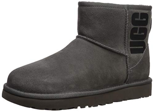 UGG Female Classic Mini UGG Rubber Logo Classic Boot, Grey, 10 (UK)