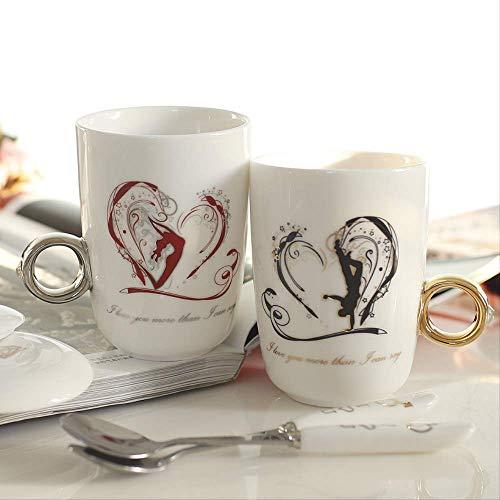 KYSM Día de San Valentín Regalo de San Valentín Creativo Anillo de Diamantes Copa Pareja Taza 250ml Danza Amor