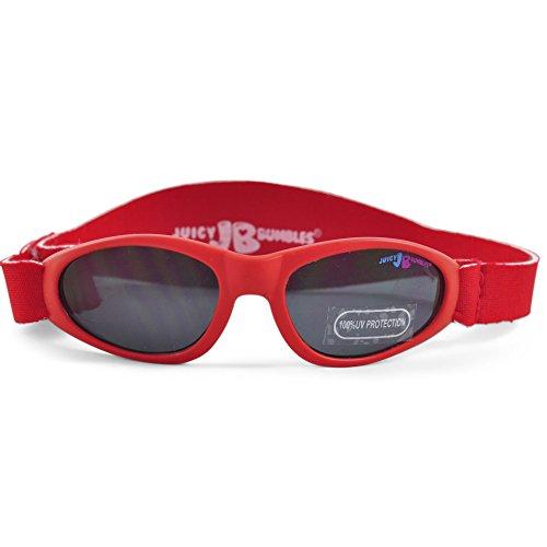 Juicy Bumbles Juicy Bumbles Sonnenbrille Baby mit verstellbarem Neopren-Kopfband und Aufbewahrungsetui - 100% UV-Schutz - 3 bis 18 Monate - Rot