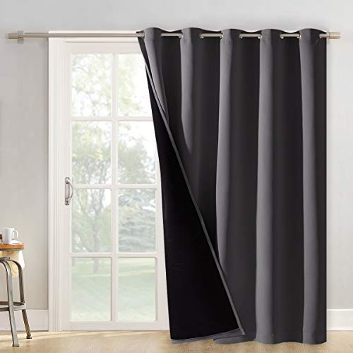 NICETOWN Total Shade Patio Door Curtain, Heavy-Duty Full Light Shading Sliding Door Drape Room Divider Curtain, Vertical Blinds for Window(1 Panel, 70 inches Wide x 84 inches Long, Gray