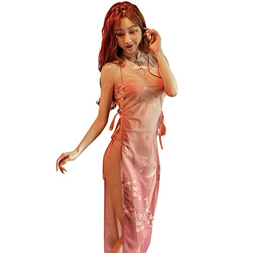 YOMORIO Retro Cheongsam Sexy Mesh Lace Floral Qipao Long Dress Anime Lingerie Costumes (Pink)
