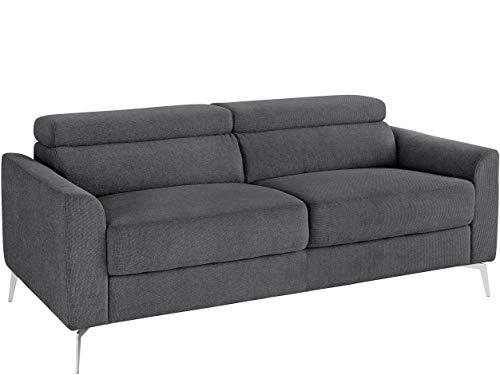 Loft24 A/S 3-Sitzer Sofa Garnitur Polstergarnitur Couch Metallbeine Webstoff anthrazit grau 185 x 92 x 95cm