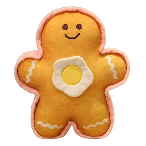 ZHKP Lindo huevo pan hombre almohada felpa cama dormir super suave almohada muñeca (amarillo, 15.6 pulgadas)