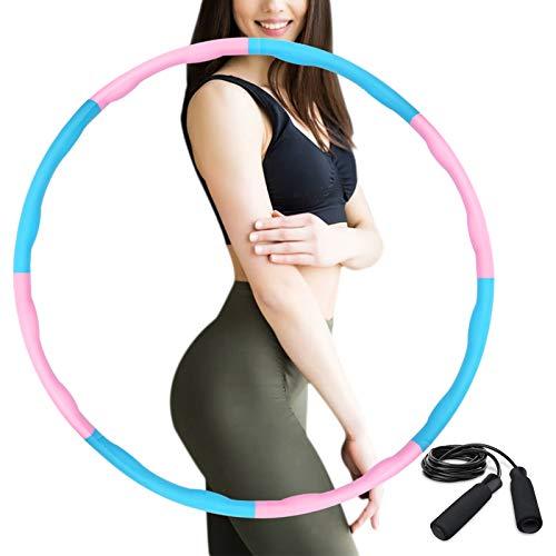 HAIGOU Hula Hoop Reifen Erwachsene zur Gewichtsreduktion,Reifen mit Schaumstoff ca 1 kg,Gewichten Einstellbar Durchmesser 75-95 cm mit Seilspringen…
