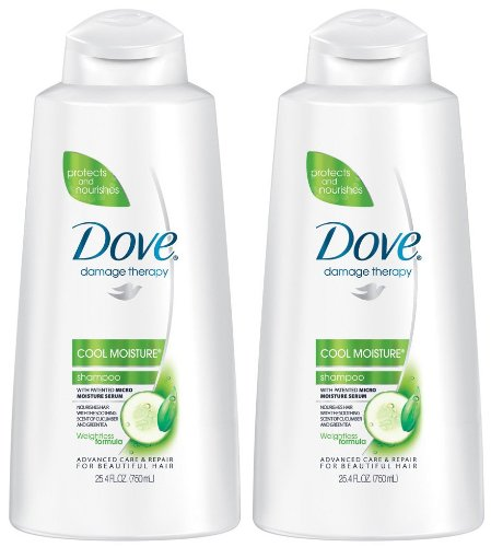 Dove Damage Therapy Cool Moisture Shampoo, Cucumber/Green Tea, 25.4-Fluid Ounces (750 ml) (Pack of 2)