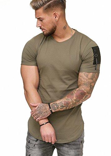Oversize Herren Vintage T-Shirt Basic Shirt Round Neck Zipper Khaki XL