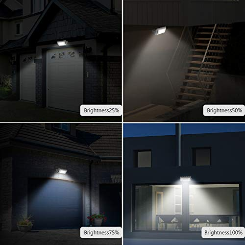 Solar Lights, LOZAYI IP65 Waterproof Outdoor Solar Light, Motion Sensor 4 Optional Luminance, 3 Timing Modes with Remote Control, Easy to Install Security Flood Lights for Front Door,Yard,Garage,Deck