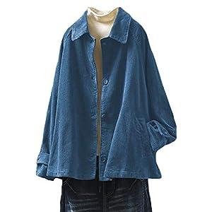 Women's Corduroy Jackets Long Sleeve Coats Button Down Outwear Tops