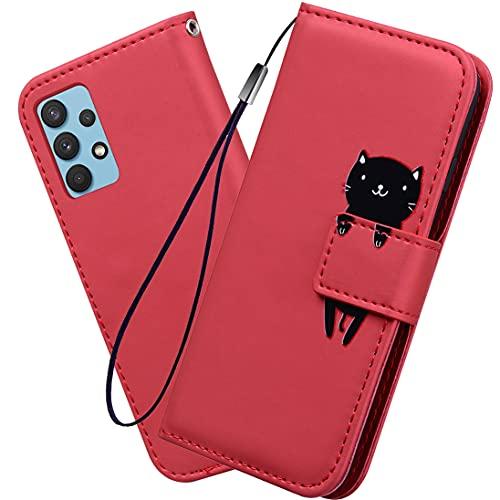 XINNI Cover Protettiva per Samsung Galaxy A32 4G Case, retrò Flip Magnetica Cellulare Custodia Libro Antiurto in Flip Pelle PU/TPU Portafoglio, Rosso