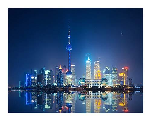 Rompecabezas URG, serie de ciudades famosas del mundo – Shanghai Bund vista nocturna Puzzle para adultos, 300 5000 piezas rompecabezas de madera, decoración del hogar URG (tamaño: 1500 piezas)