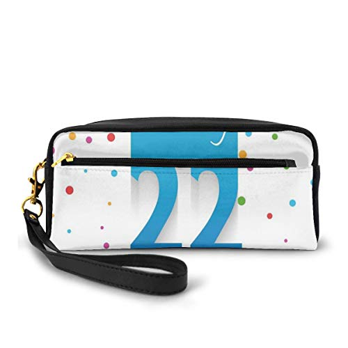 Pencil Case Pen Bag Pouch Stationary,Celebration Theme with Polka Dots and Confetti Greeting Design,Small Makeup Bag Coin Purse