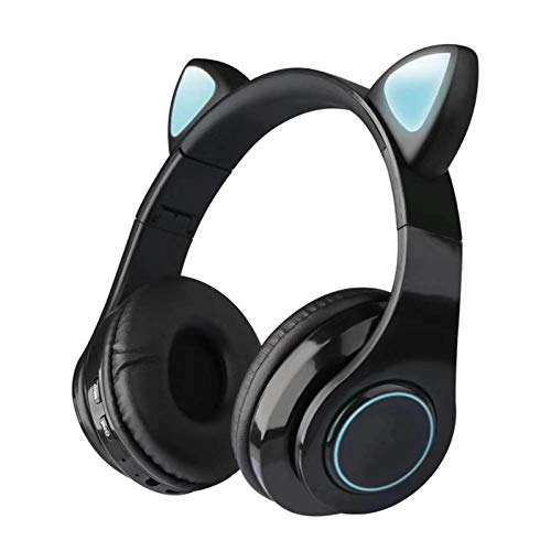 FanLe Kabellose Bluetooth-Katzenohr-Kopfhörer mit Mikrofon für Schule, Reisen, 7 Farben, LED-Leuchte,...