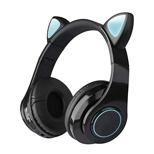 HONGTT Wireless Headphone Bluetooth Headset Cat Ear Earphone LED Lights 400 mAh with Microphone for PC Laptop Phone