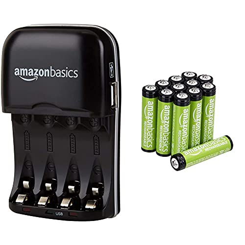 Oferta de Amazon Basics - Cargador de Pilas de Ni-MH AA y AAA con Puerto USB + Pilas AAA Recargables, precargadas, Paquete de 12 (el Aspecto Puede Variar)