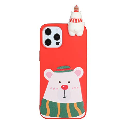 iPhone Xs/iPhone X Case Christmas Cover Cute 3D Cartoon Doll Silicone Soft Gel Shockproof Protective Cover Slim Rubber Bumper Funny Girly Xmas Skin Shell for iPhone Xs/iPhone X Bear/Green Scarf