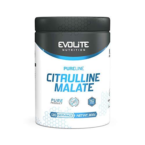 Evolite Nutrition Citrulline Malate 300g - Pump Booster - Pre Workout - Aumento della forza - Pompa muscolare - Forza muscolare (Pure)