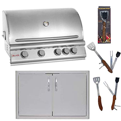 Blaze 32 Inch 4-Burner Natural Gas Grill and Blaze 32 Inch Double Access Door with Paper Towel Holder with 5 in 1 BBQ Tool Set Best of Backyard Gourmet Package Deal