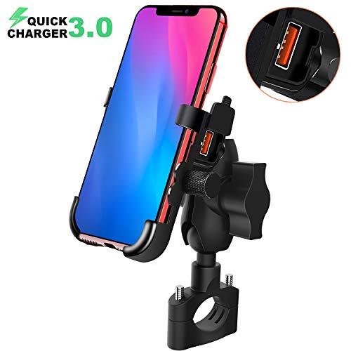 BlueFire Motorrad Handyhalterung, mit QC3.0 Quick Charger USB Ladegerät, 360° Drehbare Wasserdicht Motorrad Handy Halter für Alle 4 Inch zu 6,5 Inch Handy GPS
