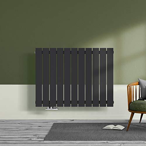 Design Heizkörper Wandheizkörper Flach 630x850mm Designer Heizung Horizontal Einlagig Seitenanschluss 645 Watt - Meykoers Anthrazit