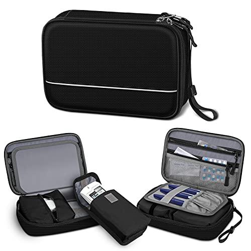 SITHON Diabetikertasche mit Handschlaufe Wasserabweisend tragbare Aufbewahrungstasche für Insulin-Pens, Glukose-Messgerät, Blutzucker-Teststreifen und andere Diabetiker Zubehör (nur Tasche), (Schwarz)