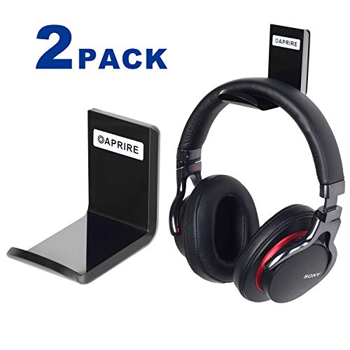Headphone Headset Stand Hanger Wall Mount Set of 2 - No Drilling Required - OAPRIRE Universal Headphone Holder Hook with Cable Clip - Save Desktop Space