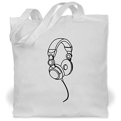 Shirtracer DJ - Discjockey - Kopfhörer Musik - Unisize - Weiß - Geschenk - WM101 - Stoffbeutel aus Baumwolle Jutebeutel lange Henkel