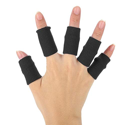 Finger Sleeves, 10pcs Basketball Finger Protector Flexible Sports Guards Wraps Stretchy Volleyball Support Brace (Black)