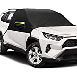 Lifesmells Windshield Snow Cover with Side Mirror Covers, Ice Removal Wiper Visor Protector All Weather Winter Summer Auto Sun Shade, Extra Large Size Fits for Most Vehicles, Cars Trucks Vans & SUVs