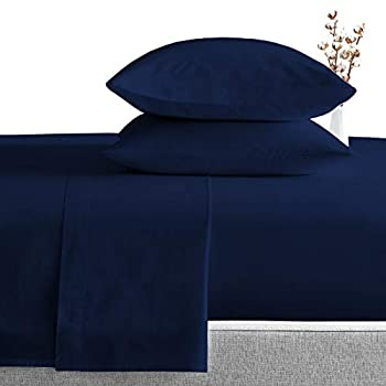 SGI bedding 1000 Thread Count 100% Egyptian Cotton King Size Pillowcase 20X40 Navy Blue Solid  Pack of 2