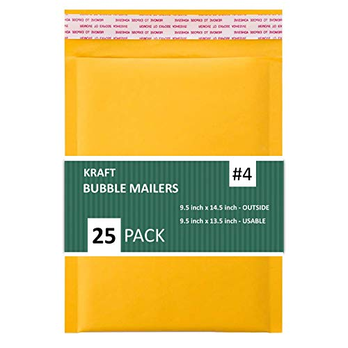 SALES4LESS #4 Kraft Bubble Mailers 9.5X14.5 Inches Shipping Padded Envelopes Self Seal Waterproof Cushioned Mailer 25 Pack (KBMVR_9.5X14.5-25)
