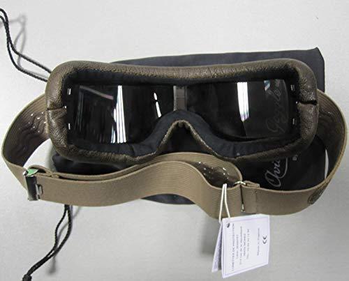 Aviator Motorradbrille T2 gunmetal, Leder braun, Gläser stark getönt