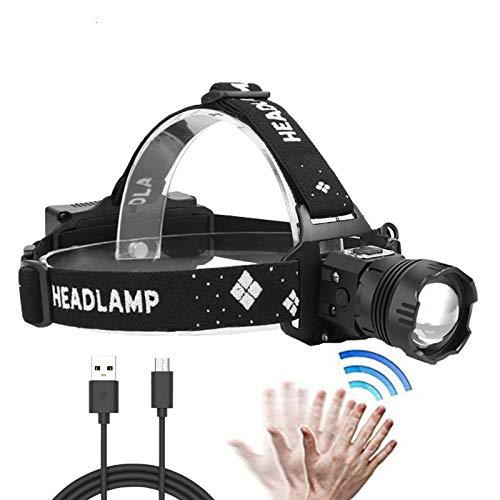 LUXJUMPER Linterna Frontal LED Sensor Inteligente Recargable, Súper Brillante 10000 Lúmenes Linternas Frontales 8 Modos para Correr, Casco, Pesca, Senderismo, Camping y Caza(Baterías incorporadas)