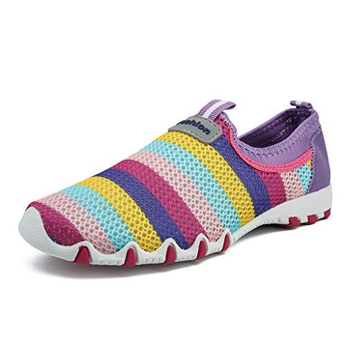 Vovotrade Trendy dames loopschoenen veters, sneakers, sport, fitness, gymschoenen, groot, gestreept, ademend mesh in candy-kleur