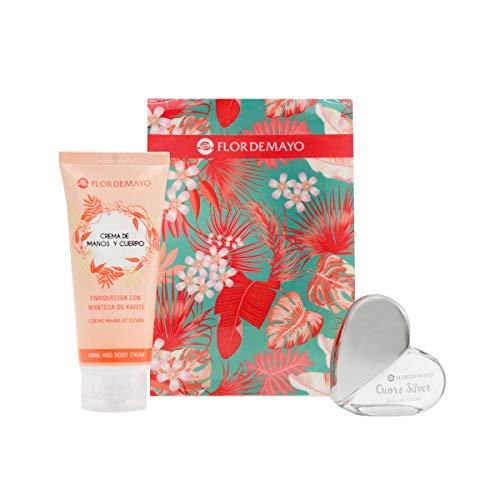 Flor de Mayo, Set de Regalo Belleza, Set Colonia Eau de Parfum + Crema de Manos y Cuerpo Perfumada Living Coral, 20ml+100ml