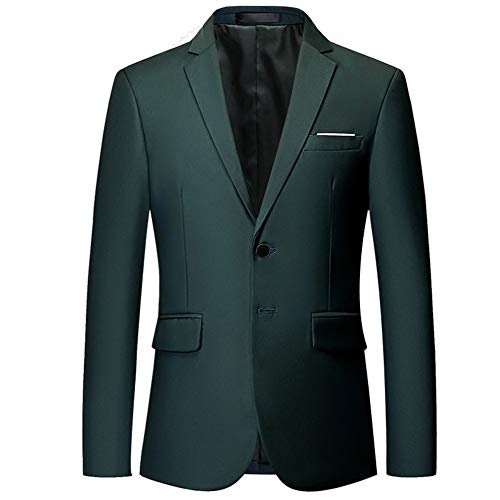 YOUTHUP Mens Blazer Single Breasted Tuxedo Jacket Slim Fit Business Suit Jackets, Dark Green, M
