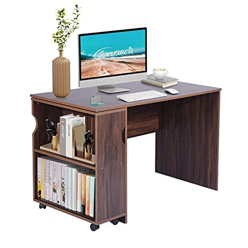 FurnitureR Escritorio grande para computadora de escritorio Mesa de estudio esencial con estantería móvil Tablero de partículas de...