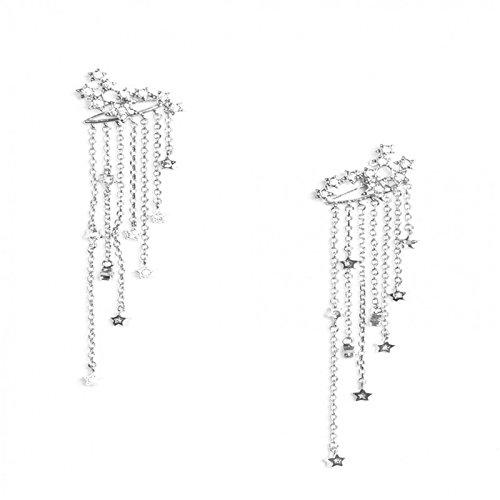 CMOM Women's Drop Earrings Round Drop Earrings Shooting Star Rhinestone Long Tassels Drop Hook Dangle Earrings Vintage Stud Earrings Jewellery Wedding Engagement Evening Dress Silver