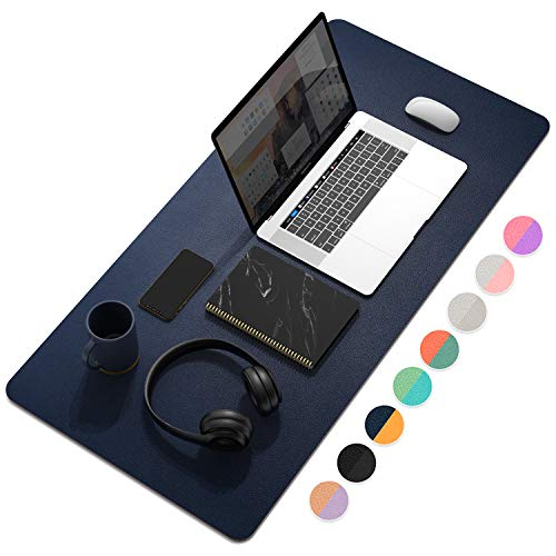 """YSAGi Multifunctional Office Desk Pad, Ultra Thin Waterproof PU Leather Mouse Pad, Dual Use Desk Writing Mat for Office/Home (35.4"""" x 17"""", Dark Tyrian Blue+Yellow)"""