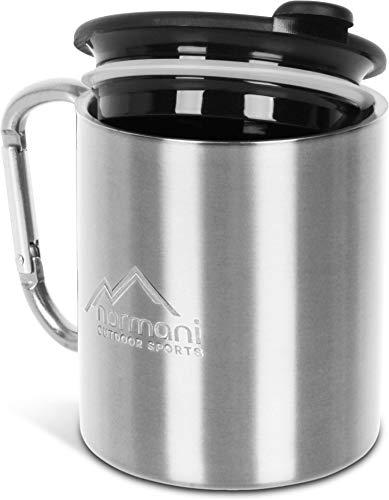 normani Doppelwandige Karabinertasse 330 ml mit passendem Trinkdeckel, rostfreier Edelstahl Farbe Silber