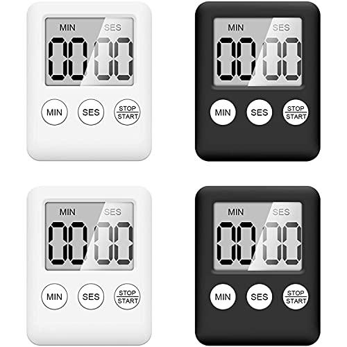 Uniqal Temporizador digital de cocina, 4 piezas reloj despertador de cocina con función de recordatorio de alarma, temporizador magnético de huevo reloj de cocina