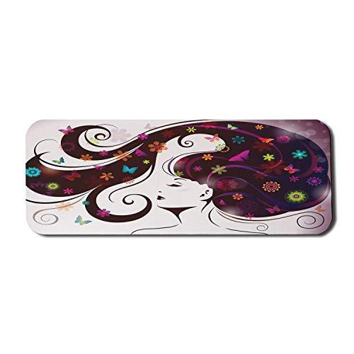 Floral Wave Computer Mouse Pad, Muster von weiblichem Kopf und Haar mit Blumen, Rechteck rutschfeste Gummi Mousepad große dunkel kastanienbraun Multicolor