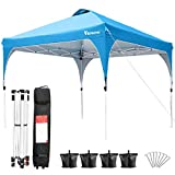 Viewee Canopy Tent 10 X 10 Ft Windproof and Waterproof Instant Canopy, Portable Sun Shade Tent with Wheel Bag, Sandbags, UV Block Sun Shelter for Outdoor Party Market Beach Camping