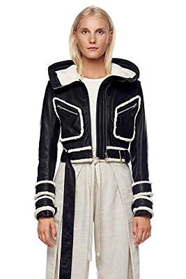 Jonny Cota Studio Cropped Leather Jacket with Hood, M, Women's Black