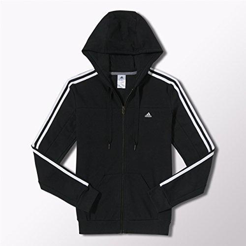 adidas Damen Trainingsjacke Essentials 3-Stripes Hooded, Black/White, XS